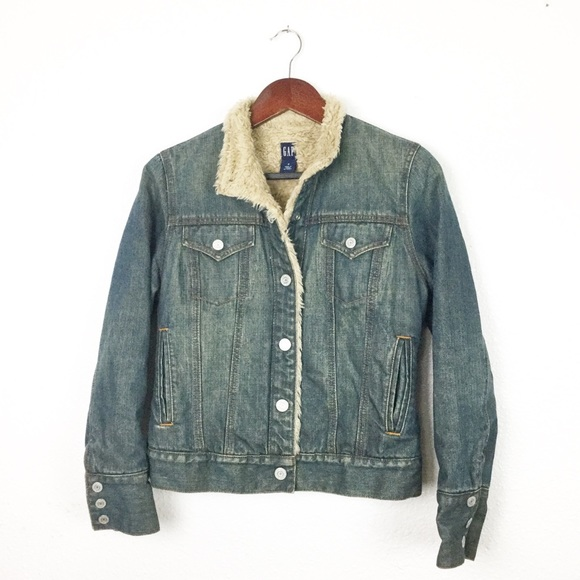 GAP Jackets & Blazers - GAP Faux Fur Sherpa Denim Trucker Jacket